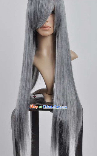 Ancient Chinese Style Long Grey Wig for Men