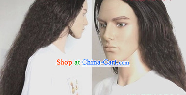 Ancient Chinese Hero Style Curly Brown Wig
