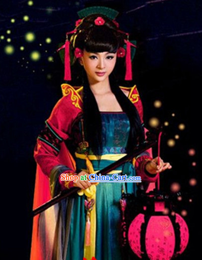 Ancient Chinese High Collar Hanfu Clothes Complete Set for Women