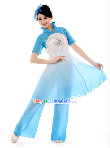 Traditional Chinese High Collar Fan Dancing Costumes Complete Set