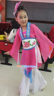 New Design Chinese Classical Dancing Costume and Headdress Complete Set for Kids