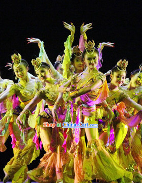 Chinese Lotus Dance Costumes Complete Set for Women