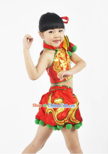 Chinese Lunar New Year Red Dancing Outfit for Kids