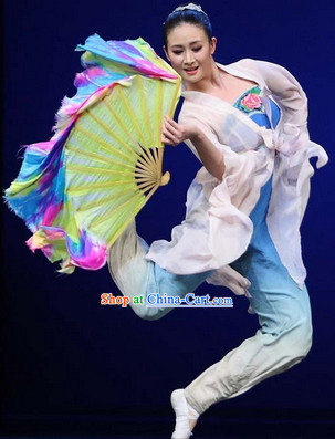 SOLO Dance Shan Wu Dan Qing Chinese Classical Fan Dance Costume Complete Set