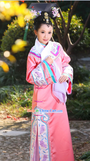 Zhen Huan Legend Palace Imperial Concubine Embroidered Long Robe and Headdress Complete Set