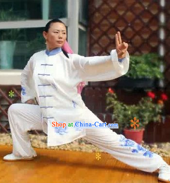 Blue Flower Kung Fu Tai Chi Silk Uniform