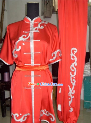 Professional Red Kung Fu Tai Chi Silk Uniform