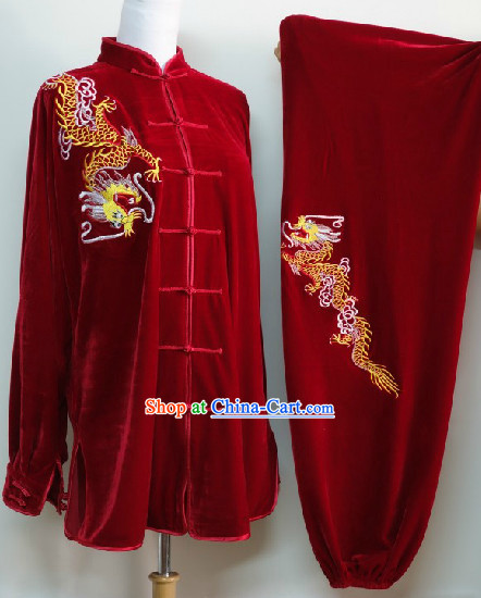 Traditional Red Winter Wear Dragon Embroidery Kung Fu Suit