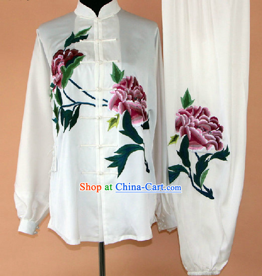 Embroidered Peony Silk Kung Fu Uniform Complete Set