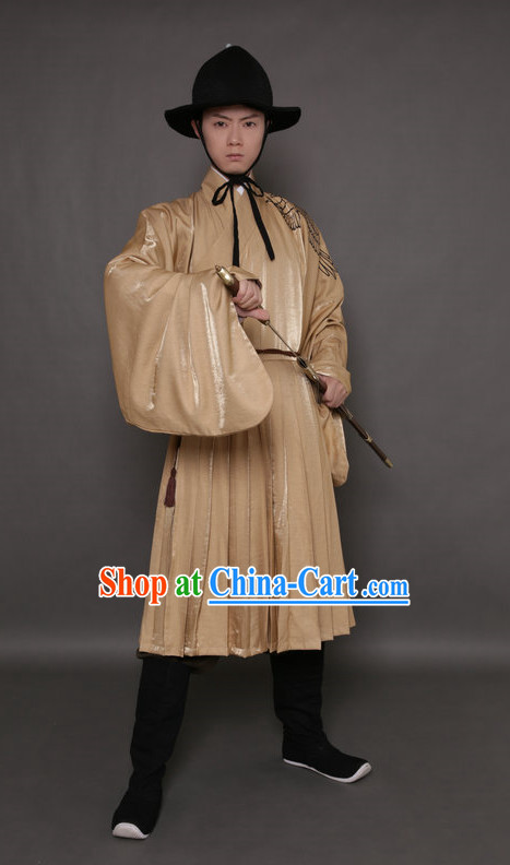 Ancient Swordman Embroidered Eagle Dresses and Black Hat Complete Set