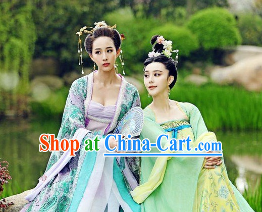Ancient Chinese Beauty Costumes and Headpieces 2 Sets