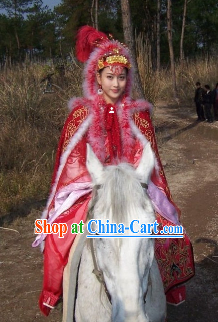 Wang Zhaojun Chinese Minority Outfit Clothing and Hat Complete Set