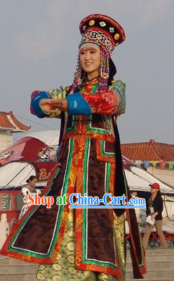 Mongolian Wedding Ceremonial Clothing and Hats Complete Sets