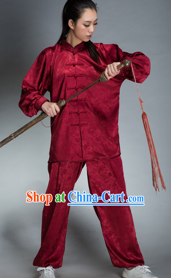 Red Traditional Martial Arts Uniforms for Women