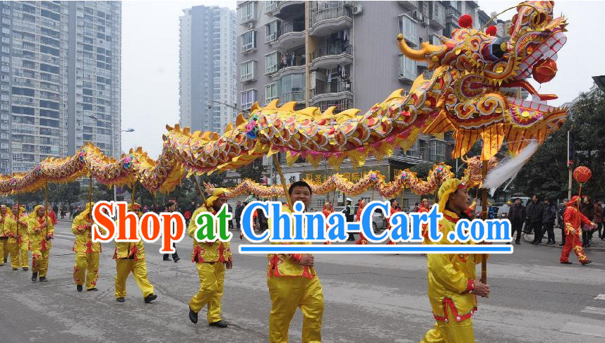 Chinese Customs Best Dragon Mascot Dance Costume Complete Set for 10 People