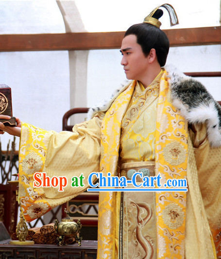 Ancient Chinese Emperor Clothing and Crown Complete Set