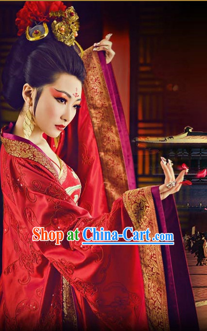 Traditional Chinese Empress Red Dance Costumes and Headpieces Complete Set