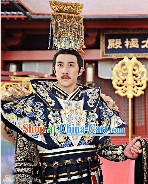 Chinese Traditional Emperor Dress and Crown Complete Set