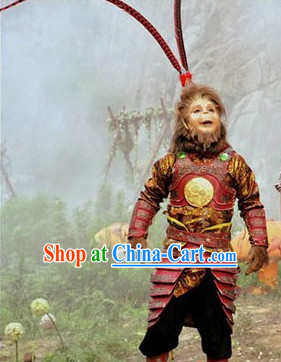 Monkey King Sun Wukong Costumes and Headpieces Complete Set