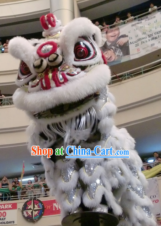 White Southern Hok San Lion Dance Head and Costumes Complete Set