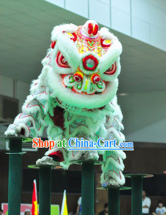 Top White Southern Lion Dance Costumes Complete Set