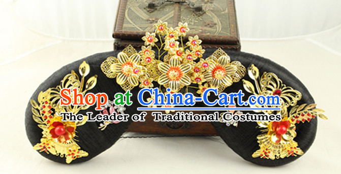 Ancient Chinese Qing Long Black Wigs and Handmade Hairpieces