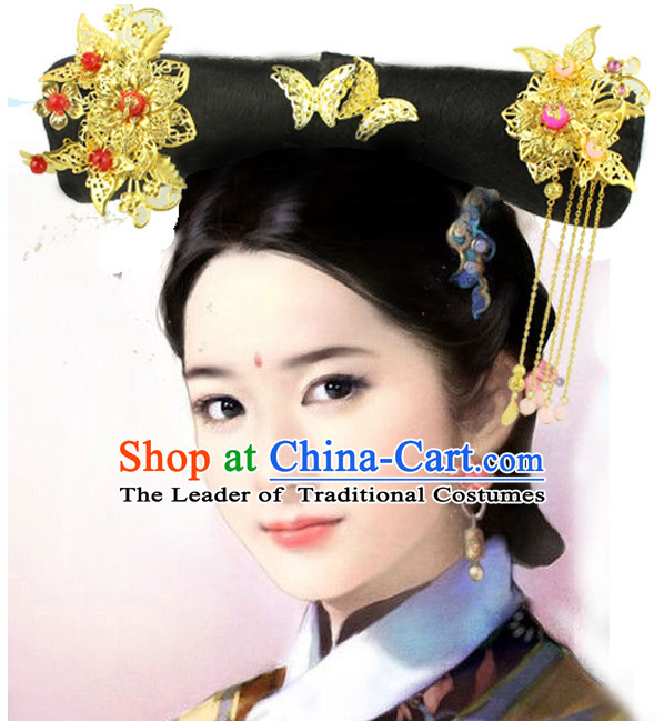 Ancient Chinese Qing Princess Black Wigs and Hairpieces