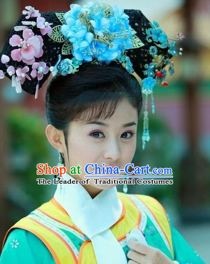 Ancient Chinese Palace Lady Qing Dynasty Wigs and Handmade Hair Accessories