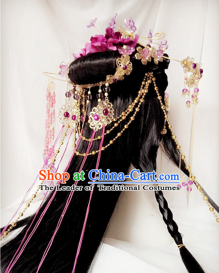Chinese Fairy Legend Queen Princess Emperor Cosplay Long Wigs and Hair Accessories Jewelry