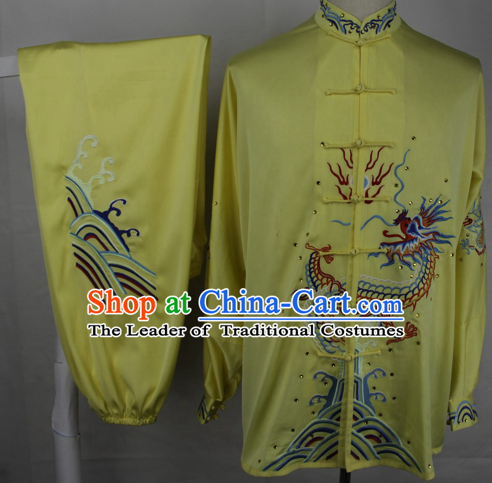 Long Sleeves Embroidered Dragon Blouse and Pants