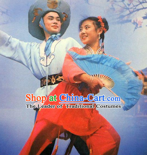 Chinese Opera Peking Opera Cantonese Opera Ancient Chinese Wedding Couple Costumes and Hair Accessories Complete Set