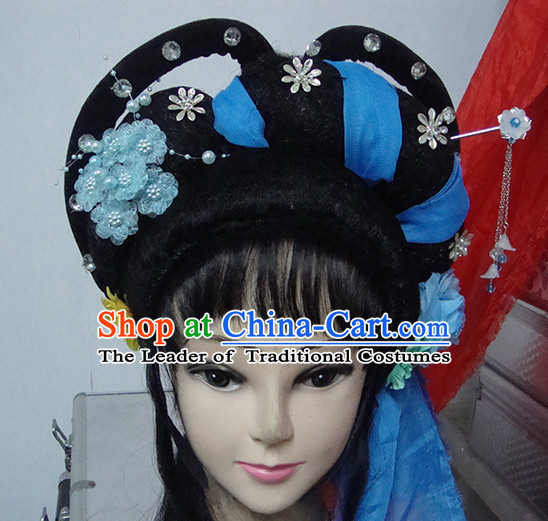 Chinese Opera Peking Opera Cantonese Opera Meng Jiang Nv Hairstyles Fascinators Fascinator Wholesale Jewelry Hair Pieces and Black Wigs
