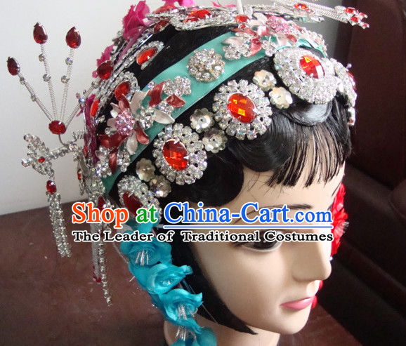 Handmade Chinese Theatrical Performances Shuang Zhu Feng Opera Hairstyles Fascinators Fascinator Wholesale Jewelry Hair Pieces and Wigs