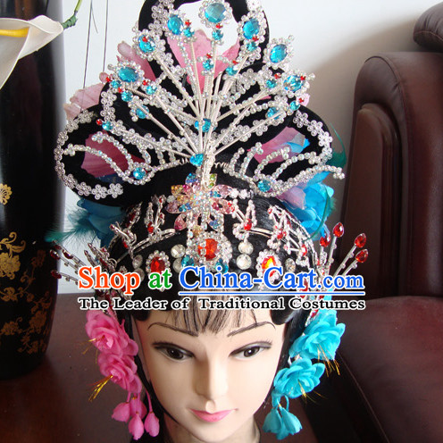 Chinese Opera Stage Theatrical Performances Ancient Queen Black Long Wigs and Hair Accessories Set