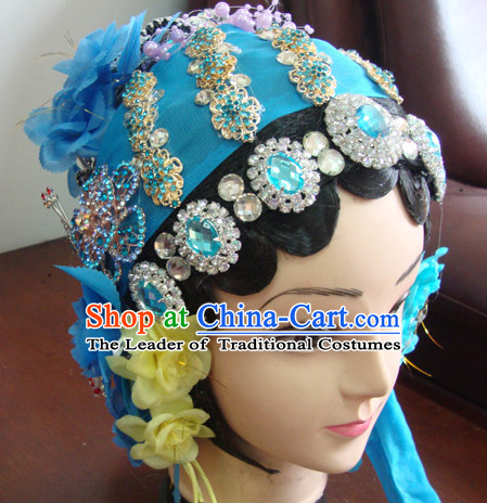 Chinese Stage Qin Xiang Lian Hair Jewelry and Black Long Wigs