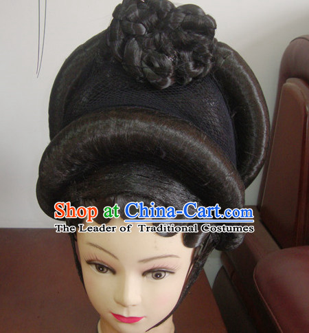 Guang Dong Chinese Opera Hua Tan Hairstyles Long Black Wigs  Fascinators Fascinator Wholesale Jewelry Hair Pieces