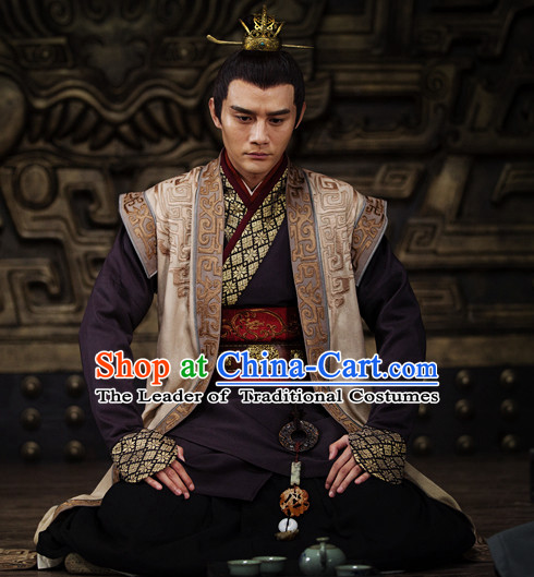 Chinese Ancient Emperor Knight Dresses online Designer Halloween Costume Wedding Gowns Dance Costumes Cosplay and Hair Jewelry Complete Set
