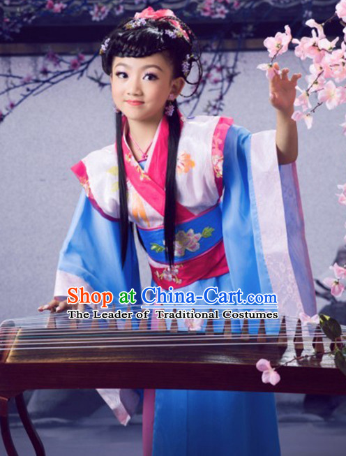 Chinese Ancient Style Princess Costume and Hair Jewelry Complete Set for Children
