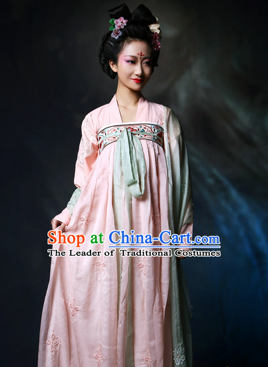 Chinese Ancient Tang Dynasty Maid Halloween Costume and Hair Jewelry for Women