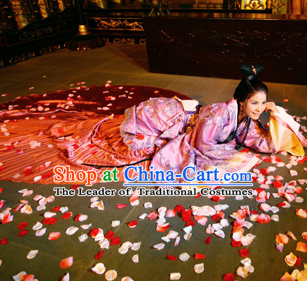 Asian Chinese Han Dynasty Princess Halloween Costumes Cosplay Costume and Hair Accessories Complete Set