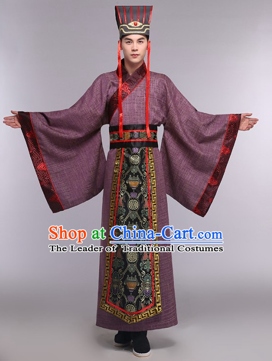 Asian Chinese Ancient Prime Minister Costumes and Hat Complete Set