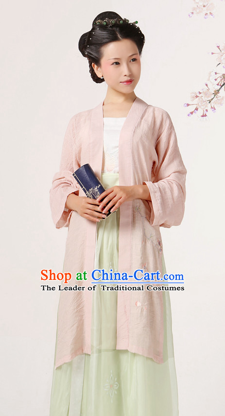 Ancient Chinese Song Dynasty Hanfu Costumes Clothes and Hair Jewelry Complete Set for Women