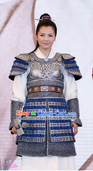 Ancient Chinese Female General Superhero Armor Costumes and Hair Jewelry for Women