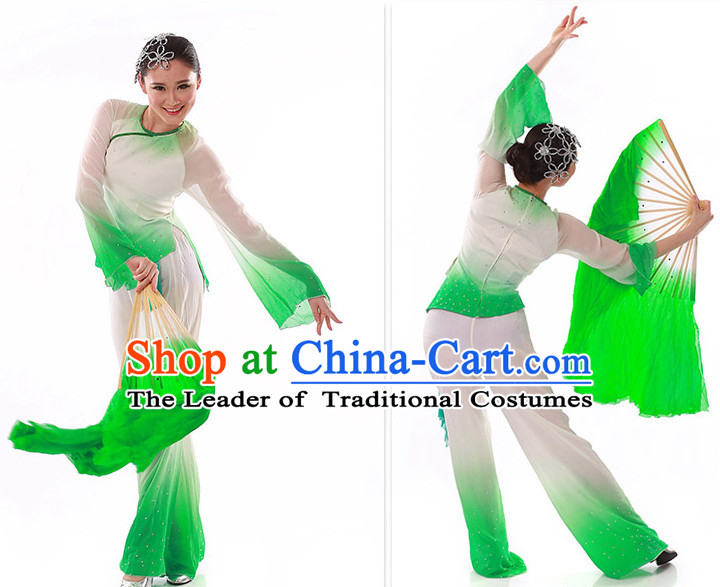 Green to White Color Transition Silk Dance Fan