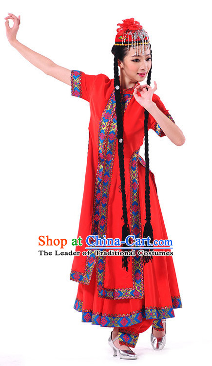 Chinese Xinjiang Folk Dance Costume Wholesale Clothing Discount Dance Costumes Dancewear Supply and Headpieces for Girls