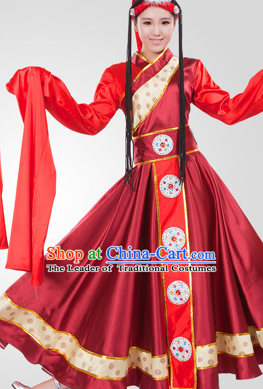 Chinese Tibetan Folk Dance Costume Wholesale Clothing Discount Dance Costumes Dancewear Supply and Headpieces for Women