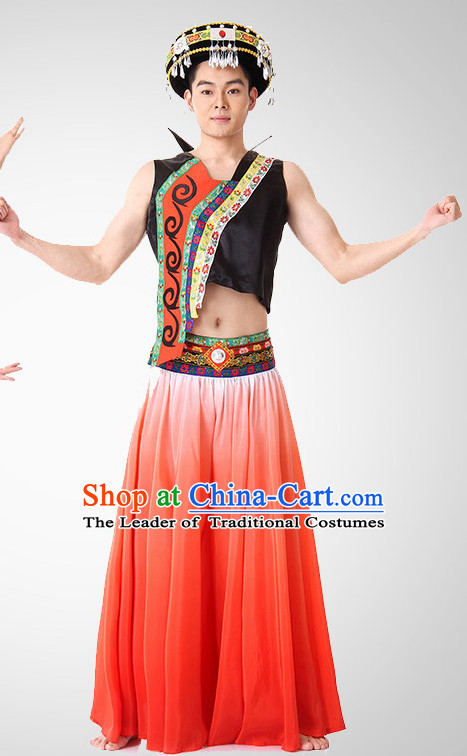 Chinese Folk Ethnic Dance Costume Wholesale Clothing Discount Dance Costumes Dancewear Supply and Headpieces for Men