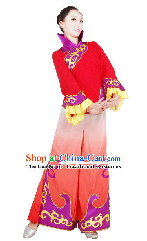 Chinese High Collar Folk Dance Outfit Costume Wholesale Clothing Group Dance Costumes Dancewear Supply for Girls