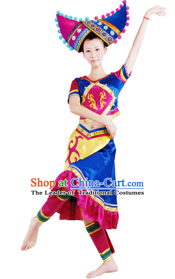 Chinese Folk Dance Costume Wholesale Clothing Group Dance Costumes Dancewear Supply for Girls