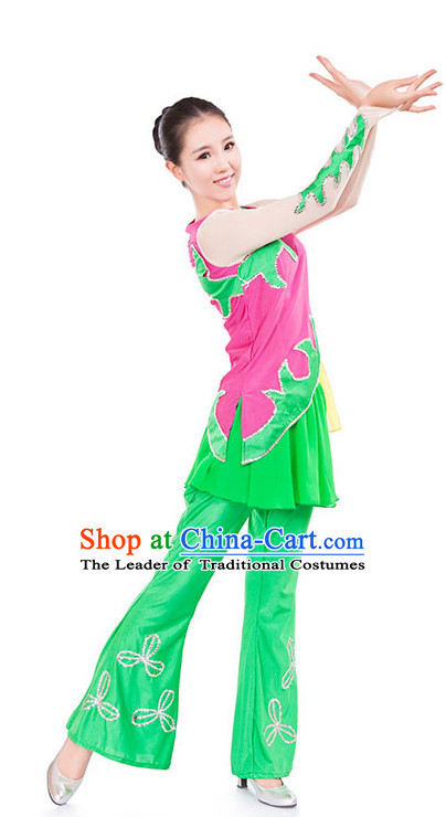 Chinese Folk Ribbon Dancing Clothes Costume Wholesale Clothing Group Dance Costumes Dancewear Supply for Girls